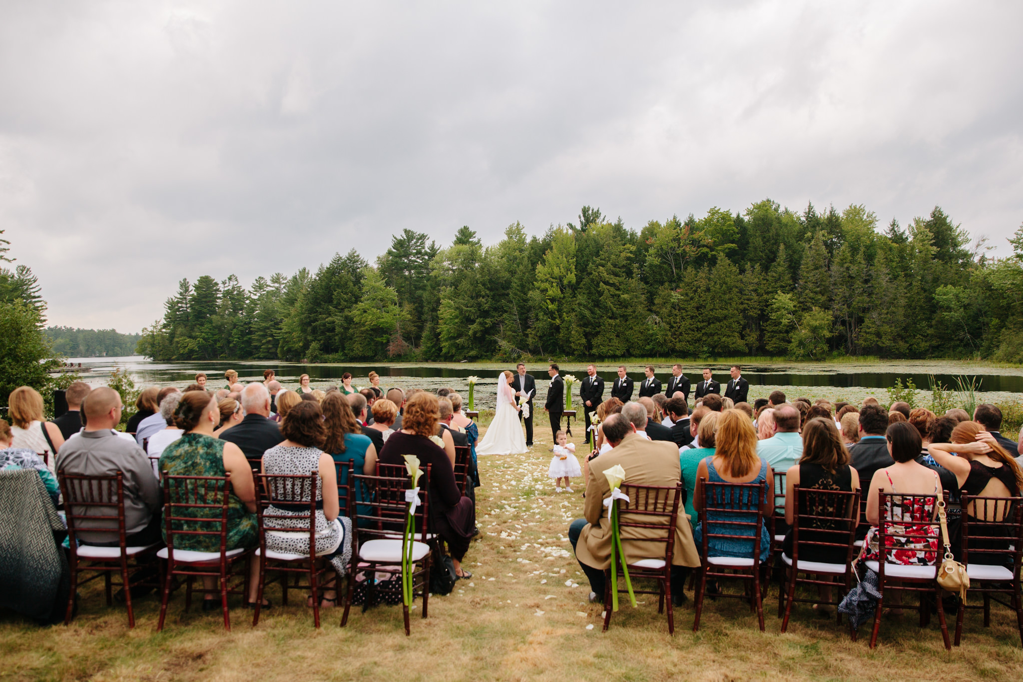 wedding ceremony view at Wildfire Golf Course on shores of Stoney Lake