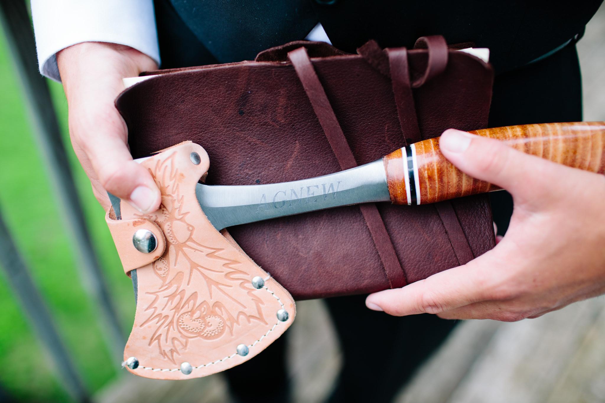 groom holding axe