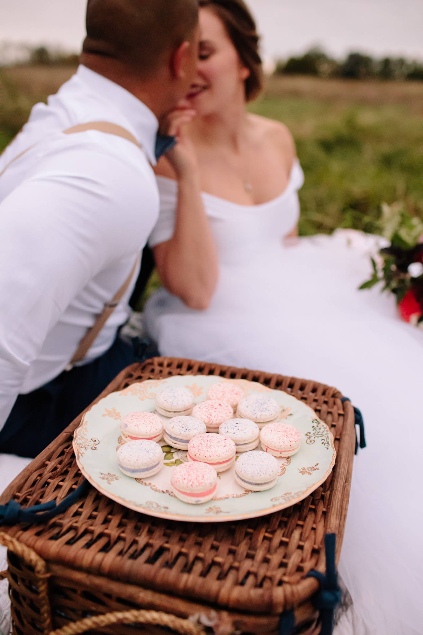 macaroons on an antique plate for picnic