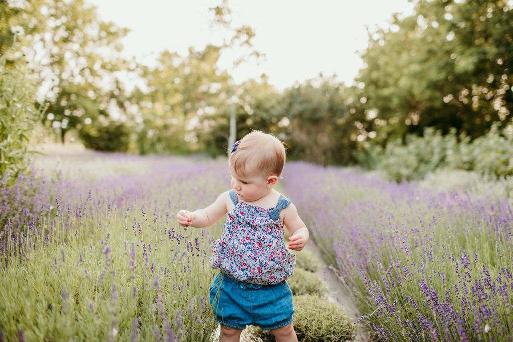 baby girl standing in amongst the lavender