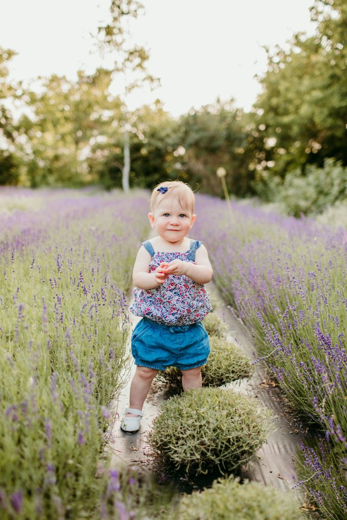 toddler standing in a field of lavender smiling at the camera