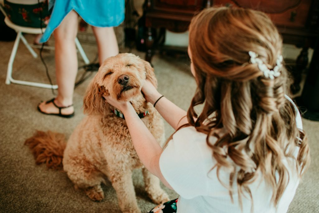 bride giving her dog some love while getting ready on the day of her wedding